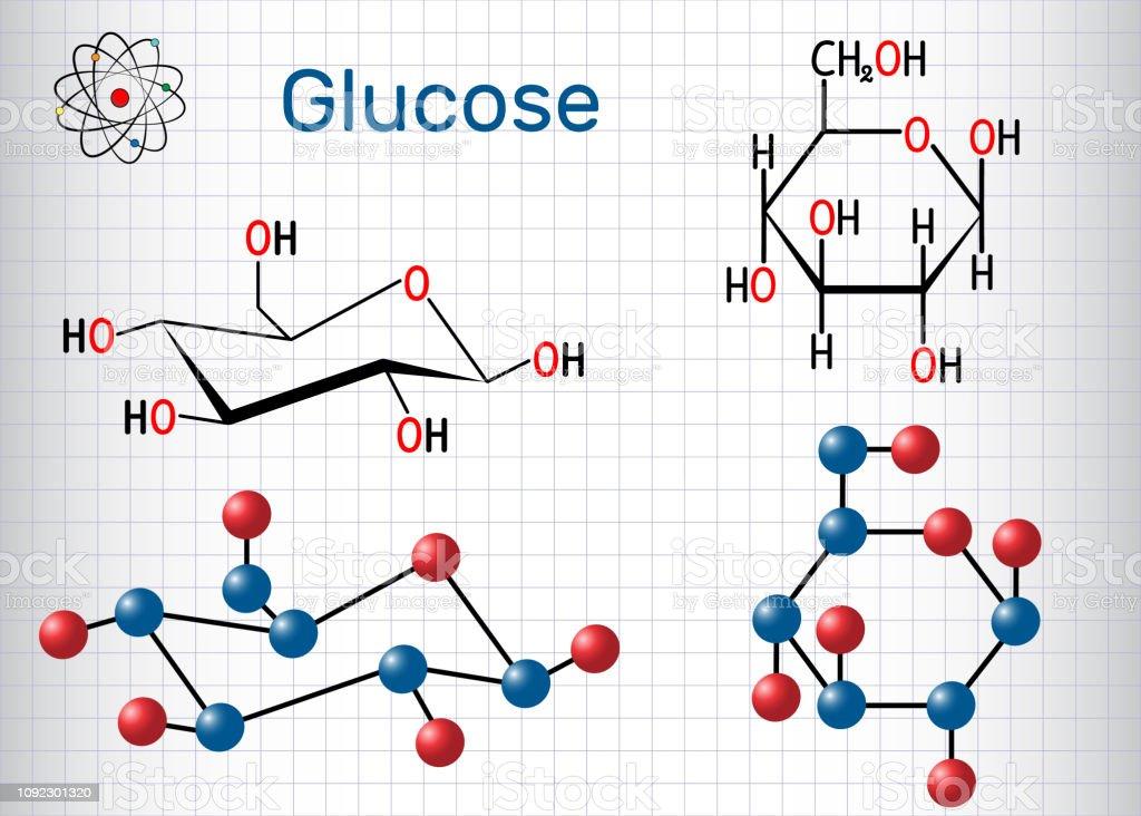 Glukose Molekül Blatt Papier In Einem Käfig Chemische Formel