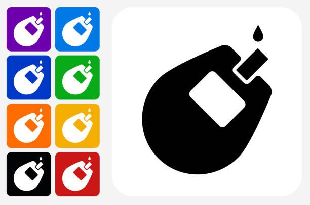 stockillustraties, clipart, cartoons en iconen met glucose monitor pictogram vierkante knop set - bloedsuikertest