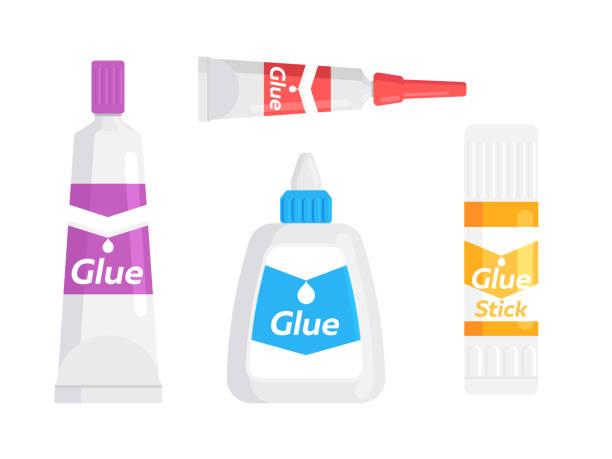 glue tube, bottle and stick - lepki stock illustrations