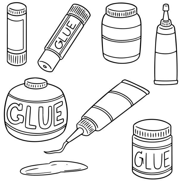 illustrazioni stock, clip art, cartoni animati e icone di tendenza di glue - appiccicoso