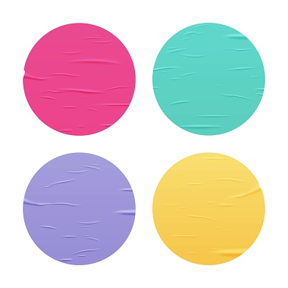 Glued color round stickers set isolated on white background. Vector realistic crumpled posters bundle. Wet greased wrinkles blank template texture. Empty advertising circles mockup for creative design.
