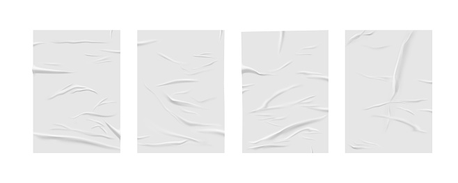 Glued paper wrinkled effect, vector realistic background. Badly wet glued paper or gray adhesive foil with crumpled and greased wrinkles texture, isolated blank templates set