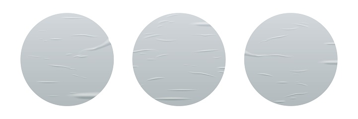 Glued round stickers set isolated on white background. Vector realistic crumpled posters bundle. Wet greased wrinkles blank template texture. Empty advertising circles mockup for creative design.