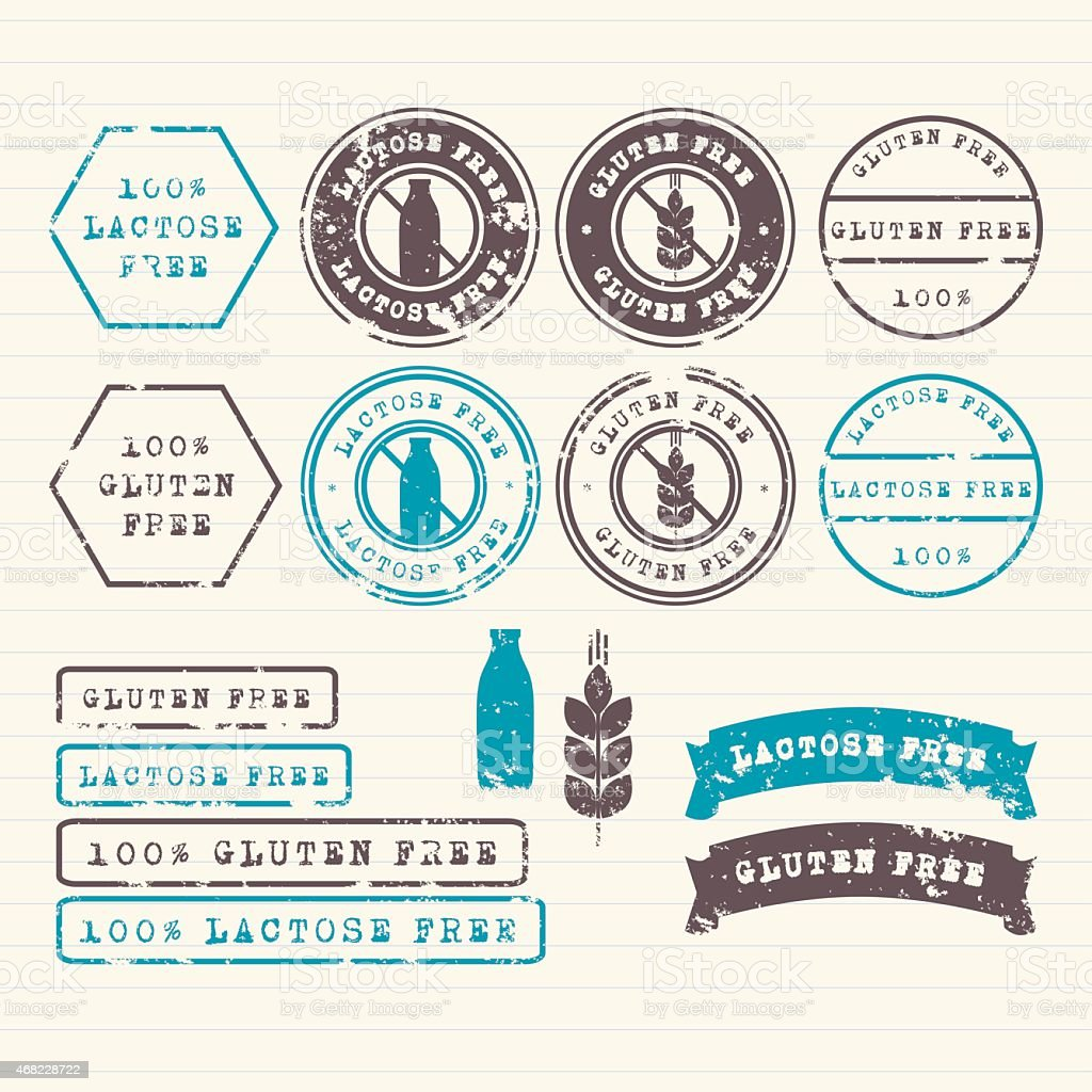 Gluten and Lactose free stamps set vector art illustration