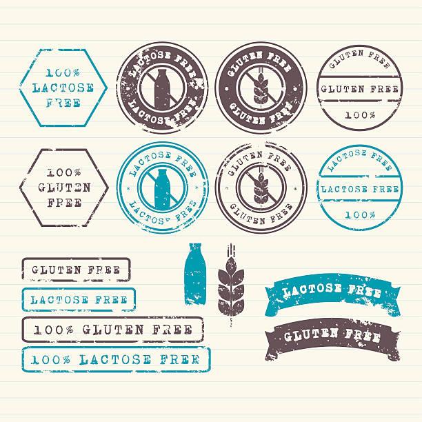 ilustraciones, imágenes clip art, dibujos animados e iconos de stock de gluten y lactosa conjunto de sellos de - sin gluten