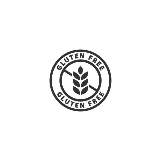 ilustraciones, imágenes clip art, dibujos animados e iconos de stock de etiqueta aislada negra libre de gluten. - sin gluten