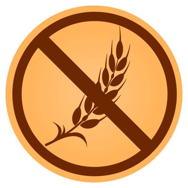 ilustraciones, imágenes clip art, dibujos animados e iconos de stock de icono de gluten libre círculo marrón - sin gluten