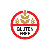 Gluten free - colored icon badge on white background vector illustration for website, mobile application, presentation, infographic. Natural food concept sign design.