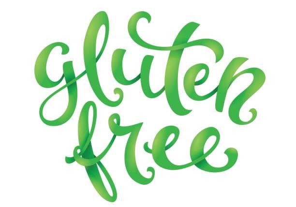 ilustraciones, imágenes clip art, dibujos animados e iconos de stock de frase manuscrita conceptual libre de gluten - sin gluten