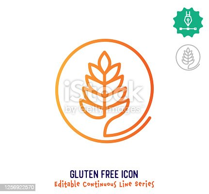 istock Gluten Free Continuous Line Editable Stroke Line 1256922570