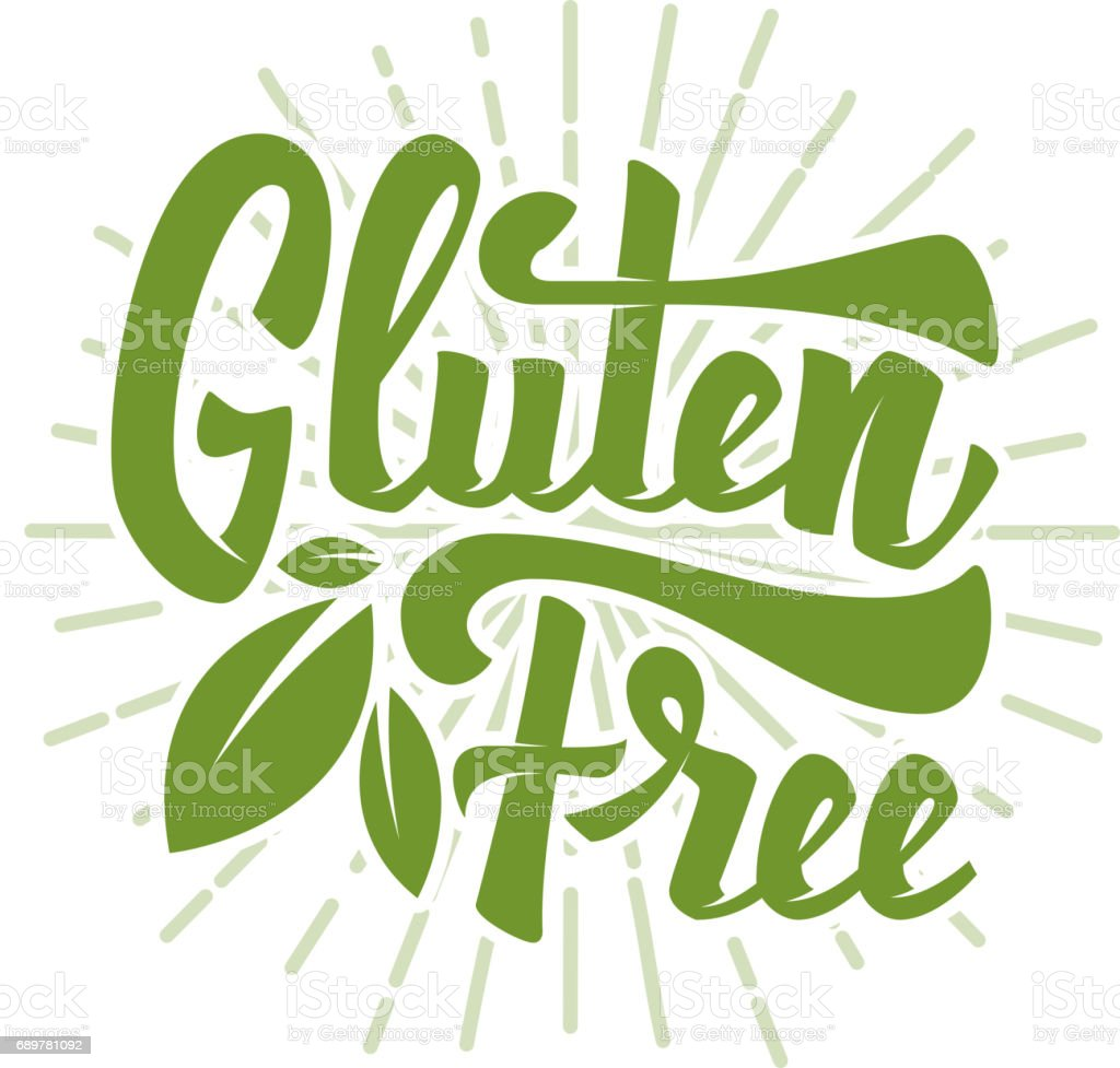 Gluten free. Hand drawn lettering phrase isolated on white background. Vector illustration vector art illustration