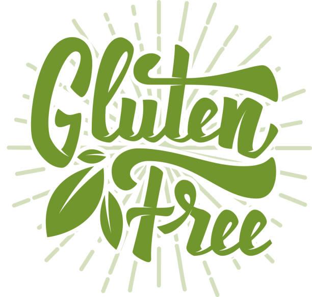 ilustraciones, imágenes clip art, dibujos animados e iconos de stock de libre de gluten. dibujado a mano letras frase aislada sobre fondo blanco. ilustración de vector - sin gluten