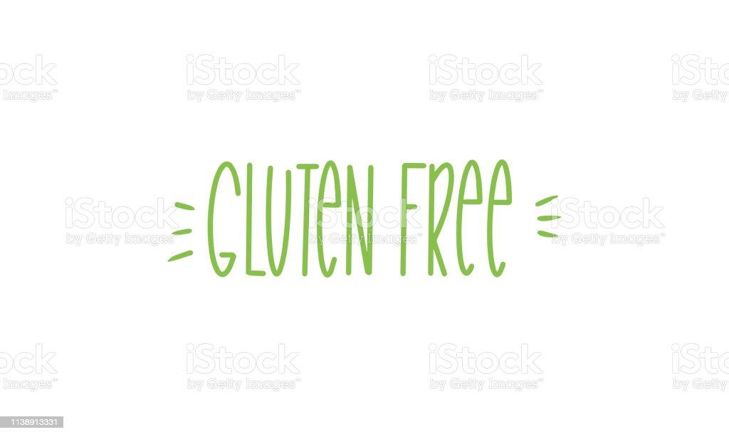 Gluten Free Handwritten Lettering Isolated Organic Vegan Healthy
