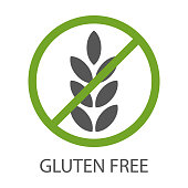 Gluten free icon. Products that do not contain gluten. Healthy diet. Vector illustration isolated on white background for design and web.
