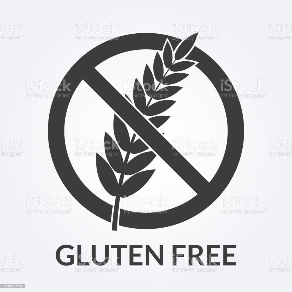 Gluten Free Icon Sign With Grain Or Wheat Vector Illustration Stock