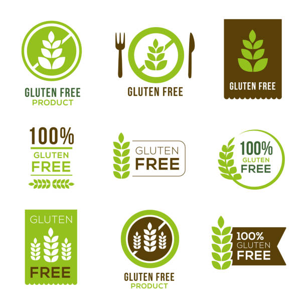 Gluten Free Icons - Badges Gluten free icons - can illustrate any food and diet topics - allergies, natural, healthy lifestyle natural condition stock illustrations