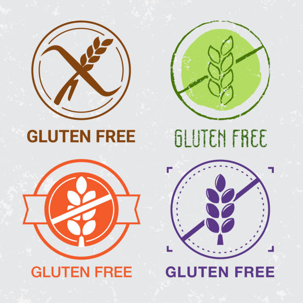 ilustraciones, imágenes clip art, dibujos animados e iconos de stock de iconos libres de gluten. signos de сeliac. - sin gluten