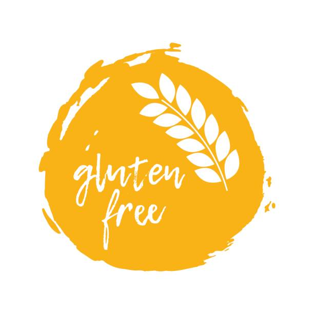 ilustraciones, imágenes clip art, dibujos animados e iconos de stock de adhesivo libre de gluten. símbolos de la intolerancia del alimento. ilustración de vector - sin gluten