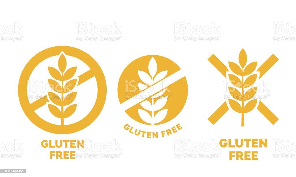 Gluten freie Bezeichnung oder kein Weizen Vektor Icon Vorlage für Gluten-freie Lebensmittel-Paket oder diätetische Produkt gelbe Zeichen setzen - Lizenzfrei Abnehmen Vektorgrafik