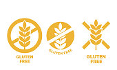 Gluten free label or no wheat vector icon template for gluten free food package or dietetic product yellow signs set