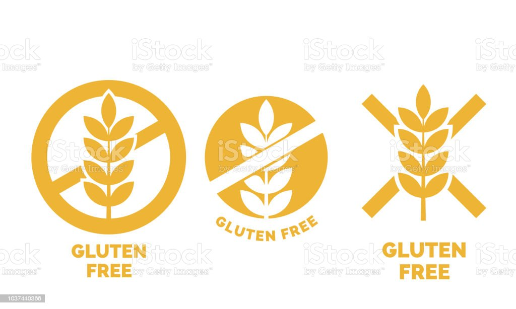 Gluten free label or no wheat vector icon template for gluten free food package or dietetic product yellow signs set vector art illustration