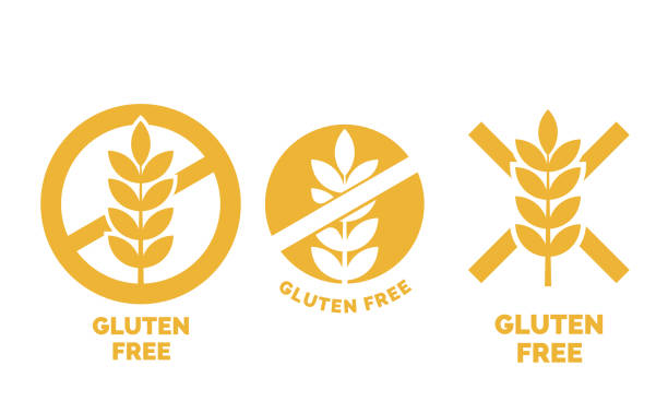 Gluten free label or no wheat vector icon template for gluten free food package or dietetic product yellow signs set Gluten free label or no wheat vector icon template for gluten free food package or dietetic product yellow signs set cereal plant stock illustrations