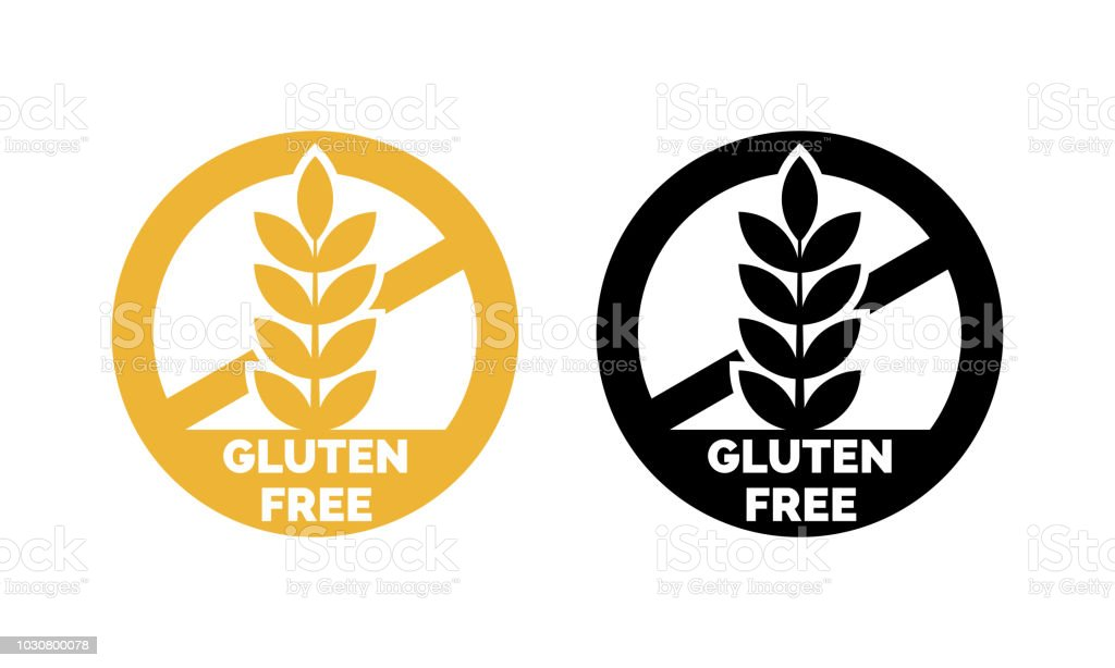 Gluten free label vector icons set. No wheat symbols templates design for gluten free food package or dietetic product nutrition sign vector art illustration