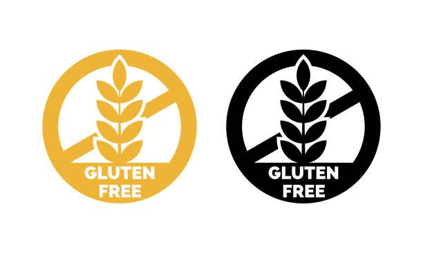 ilustraciones, imágenes clip art, dibujos animados e iconos de stock de set de iconos de vector de etiqueta libre de gluten. no trigo símbolos diseño de plantillas para el paquete de alimentos libres de gluten o signo de nutrición producto dietético - sin gluten