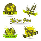 Gluten free label vector. Intolerance circle badge isolated on white. Green Organic wheat. Flat design.