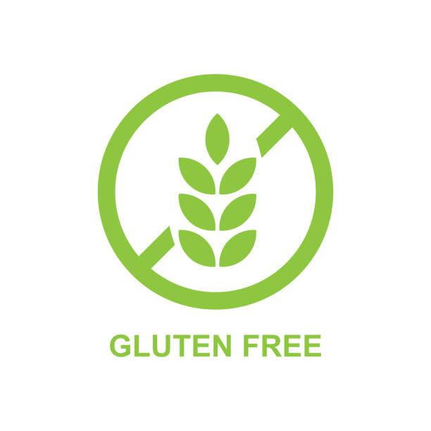 ilustraciones, imágenes clip art, dibujos animados e iconos de stock de vector de etiqueta sin gluten - sin gluten