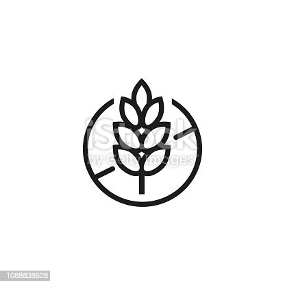 Gluten free line icon. Wheat ear, crop, bread. Diet concept. Can be used for topics like food, allergy, intolerance