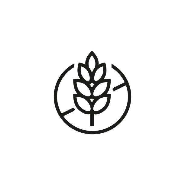 ikona linii bezglutenowej - ciasto stock illustrations