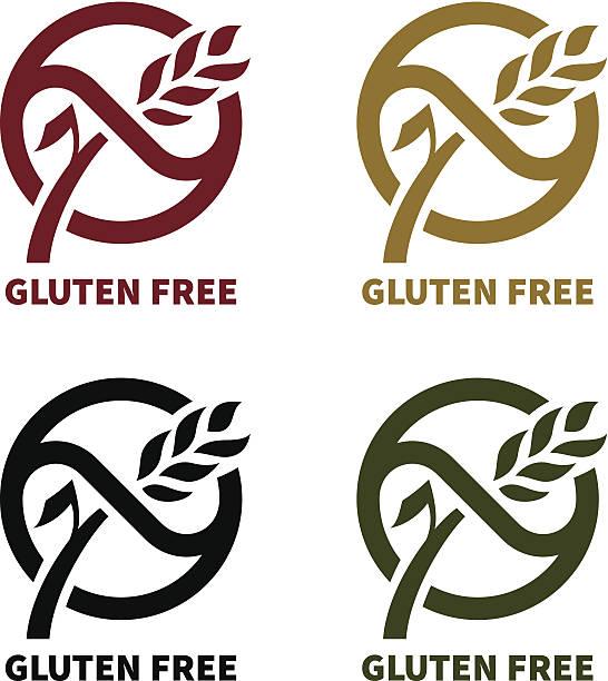 ilustraciones, imágenes clip art, dibujos animados e iconos de stock de sin gluten logotipo - sin gluten