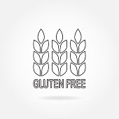 Gluten free outline  sign or label with wheat icon. Infographics element for food packaging. Vector illustration.