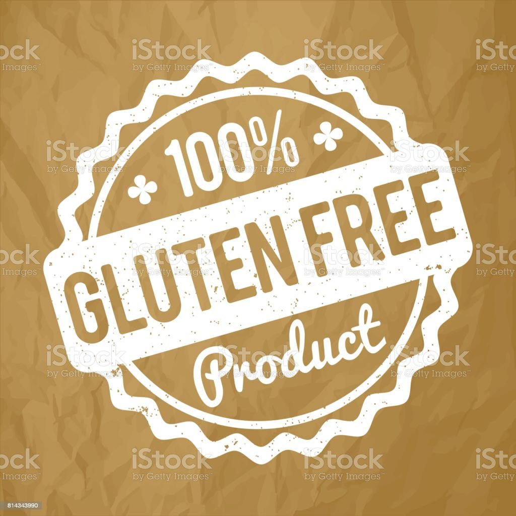 Gluten FREE Product rubber stamp white on a crumpled paper brown background. vector art illustration