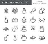 Gluten free products theme pixel perfect thin line icons. Set of elements of wheat, meat, fruits, cakes and other diet related pictograms. Vector illustration. 48x48 pixels. Editable stroke