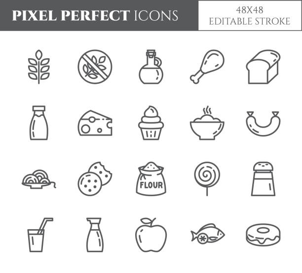 Gluten free products theme pixel perfect thin line icons. Set of elements of wheat, meat, fruits, cakes and other diet related pictograms. Vector illustration. 48x48 pixels. Editable stroke Gluten free products theme pixel perfect thin line icons. Set of elements of wheat, meat, fruits, cakes and other diet related pictograms. Vector illustration. 48x48 pixels. Editable stroke. cereal plant stock illustrations