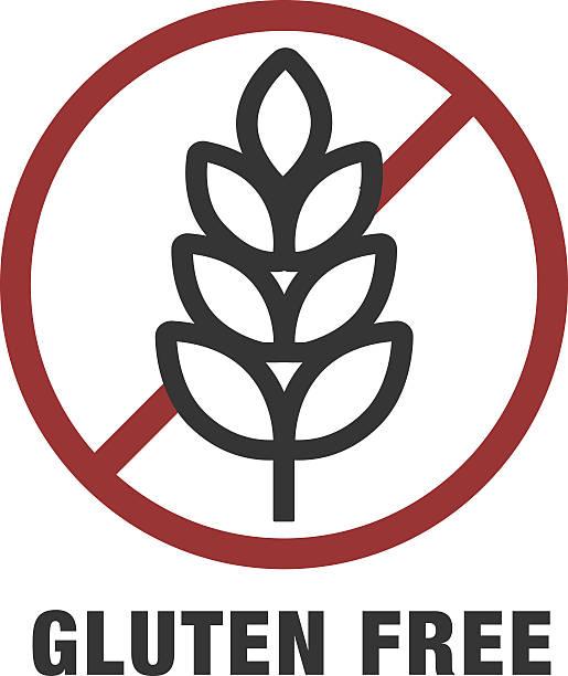 ilustraciones, imágenes clip art, dibujos animados e iconos de stock de sin gluten señal o etiqueta - sin gluten