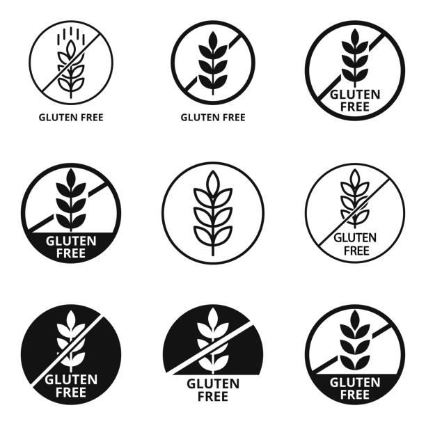 ilustraciones, imágenes clip art, dibujos animados e iconos de stock de conjunto vectorial de signos sin gluten de etiquetas de alimentos - sin gluten