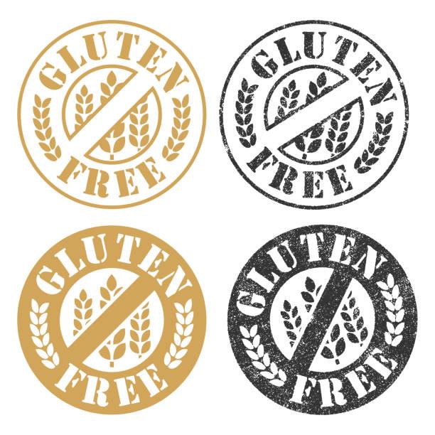 ilustraciones, imágenes clip art, dibujos animados e iconos de stock de sellos libre de gluten - sin gluten