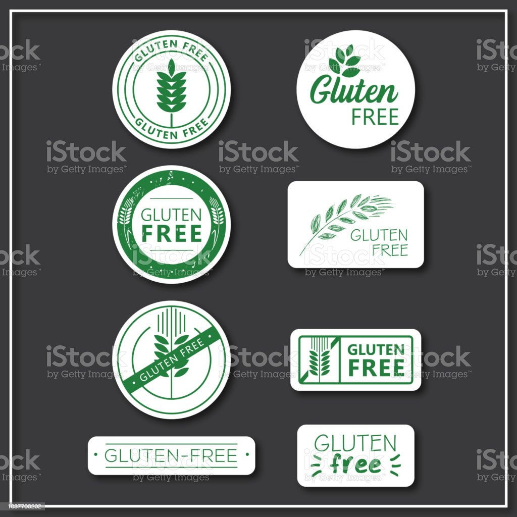 gluten free stickers vector art illustration