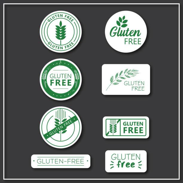 ilustraciones, imágenes clip art, dibujos animados e iconos de stock de adhesivos libres de gluten - sin gluten