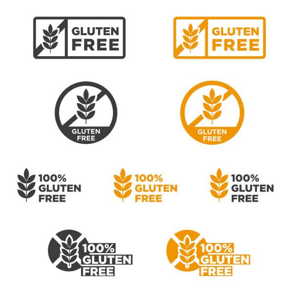 ilustraciones, imágenes clip art, dibujos animados e iconos de stock de icono vectorial sin gluten. - sin gluten