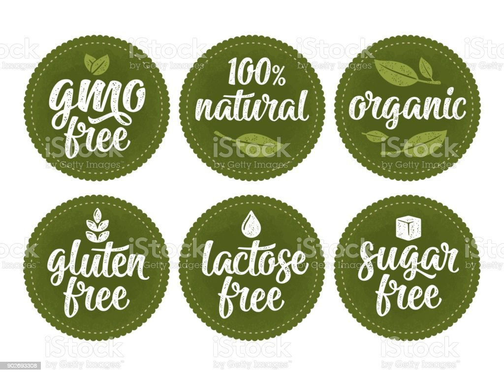 Gluten, lactose, sugar, gmo free lettering. Sign 100% natural organic food vector art illustration