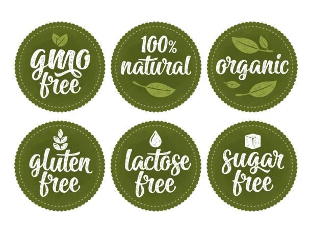 ilustraciones, imágenes clip art, dibujos animados e iconos de stock de gluten, lactosa, azúcar, gmo libre inscripción. firmar 100% natural comida orgánica - sin gluten