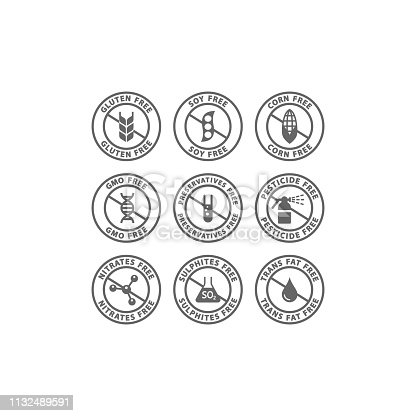 Gluten, soy, trans fat free vector badge label. Corn, preservatives, gmo free black isolated circle stamp icons.