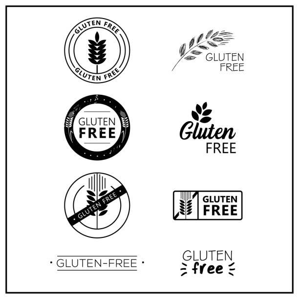 ilustraciones, imágenes clip art, dibujos animados e iconos de stock de logos de vector libre de gluten - sin gluten