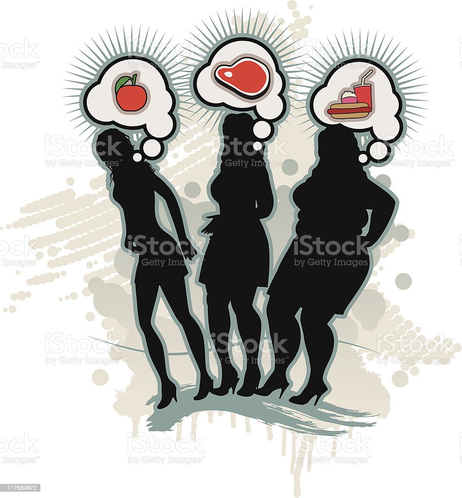 Gluttony Mind, are what we eat - Nutrition royalty-free stock vector art