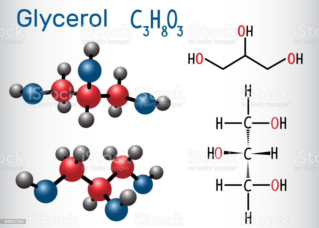 The chemical formula of glycerin. Structural and molecular formula