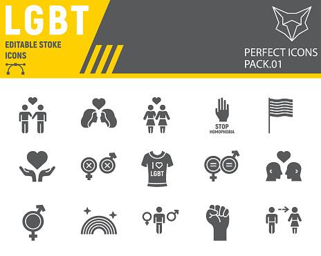 LGBT glyph icon set, lgbtq symbols collection, vector sketches, logo illustrations, gay pride icons, gender signs solid pictograms, editable stroke.